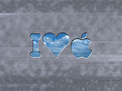 FV01ILoveApple.jpg Logos, Apple grey gray graphite clouds blue illustration