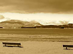SMwinterBeachR.jpg Landscapes - Water Multiple Monitors Sets snow white lakes ponds water loch vancouver british columbia canada sepia tones sepiatones